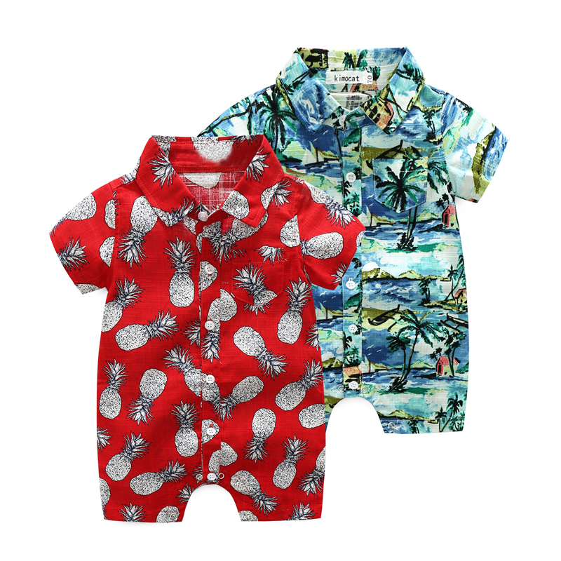 summer baby boys clothing Hawaiian style shorts red   rompers   child jumpsuit infant clothes kids Coco baby costumes pineapple