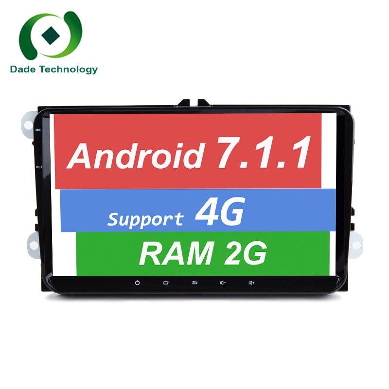 """imágenes para 9 """"HD 1024*600 Android 7.1.1 Quad core 2 DIN coche dvd gps de Radio para Volkswagen VW Golf Tiguan Skoda Fabia Rapid Seat Leon Altea"""