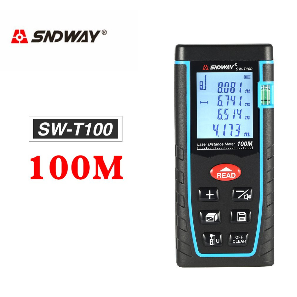 SNDWAY SW-T100 100 m De Poche Laser Distance Meter Plage Finder Trena Laser Télémètre Laser Ruban à Mesurer Distance Outil