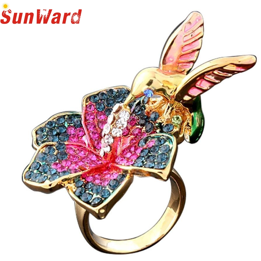 Fashion Rings Colored bird ring Gold Beautiful Flower And Bird Fashion Design Wedding Rings Jewelry gift db8 p30