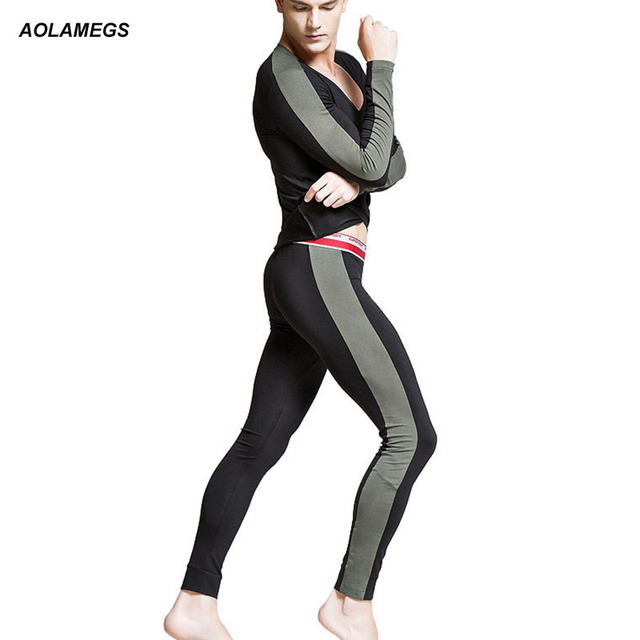 7f79b0fe5354 Aolamegs Men thermal underwear fashion autumn winter mens tight clothing  warm long johns suit hot sale