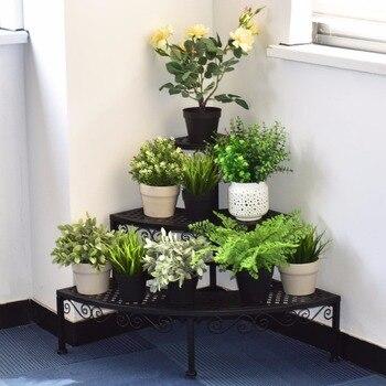 Giantex 3 Tier Corner Metal Flower Pot Pots Rack Plant Shelf Display Stair Step Ladder Home Furniture OP3340