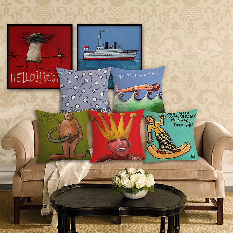 RECOLOUR  Hot sale Artist painting funny Cushion Cover Cotton Linen throw pillows Home Decor pillow cover Sofa cojines