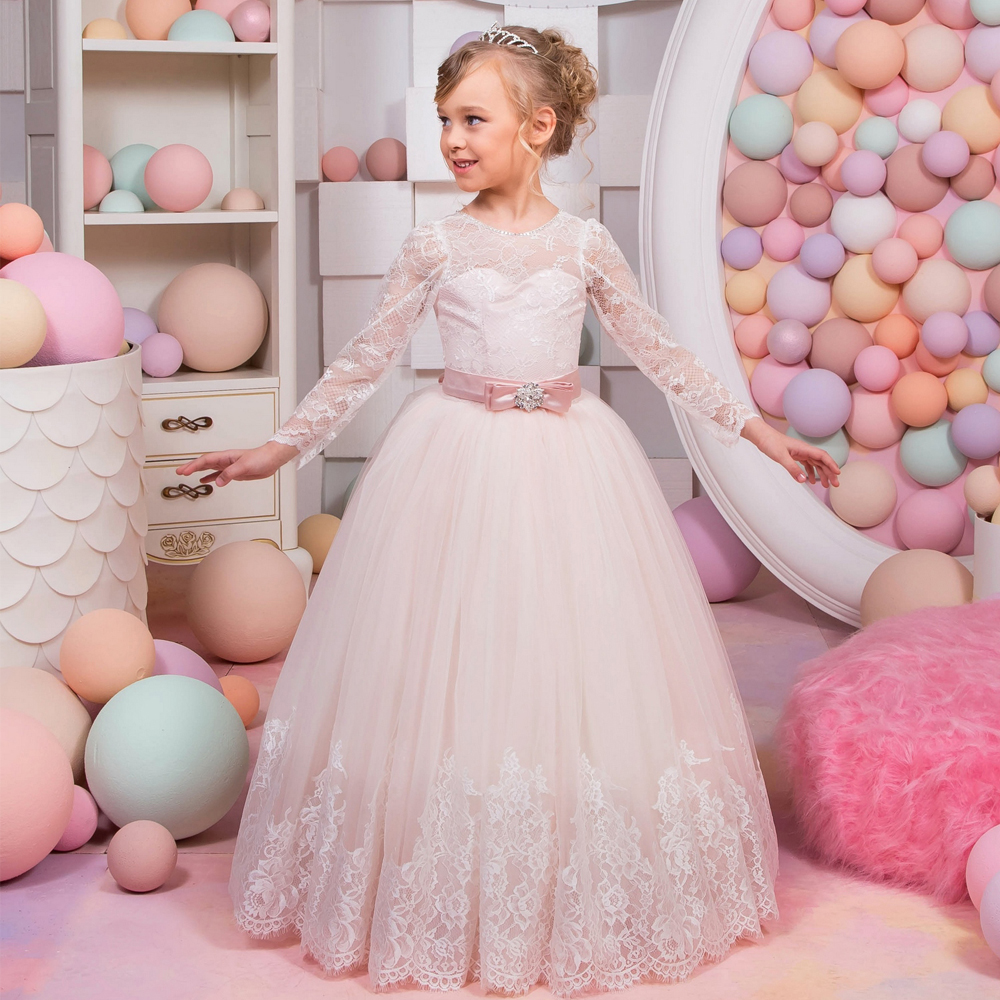 2017 New Pageant Birthday Dresses Ball Gown Crystal Sashes O Neck