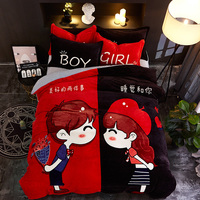 NEW Fashion Farayon Bedding Set Four piece Set Sheet Quilt Cover Pillow Case Lovers Cartoon Leisure Coral Velvet