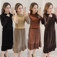 2018 Autumn and winter new women's dress vestidos clothes fashionable thin waist velours splicing Loose pleated dress STPRRES