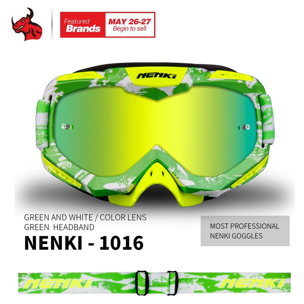 NENKI Motorcycle Windproof Goggle Green Gafas Motocross Skiing Snowboard Glasses Colorful Lens Unisex Racing Eyewear