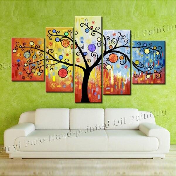 5 panel resumen pintado a mano fortuna suerte árbol cuadro pintura ...