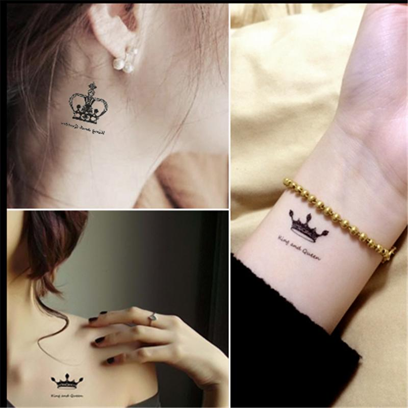 New Temporary Tattoo stickers waterproof makeup make up human Crown Diamond Tattoo