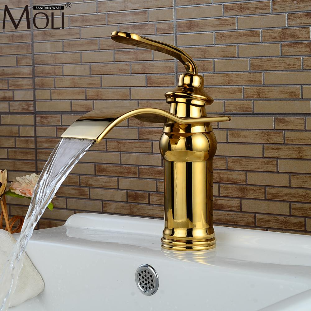 Luxury Waterfall Gold Bathroom Sink Faucet Hot and Cold Water Mixer Tap Copper Basin Sink Faucets Crane infos bathroom led waterfall water tap