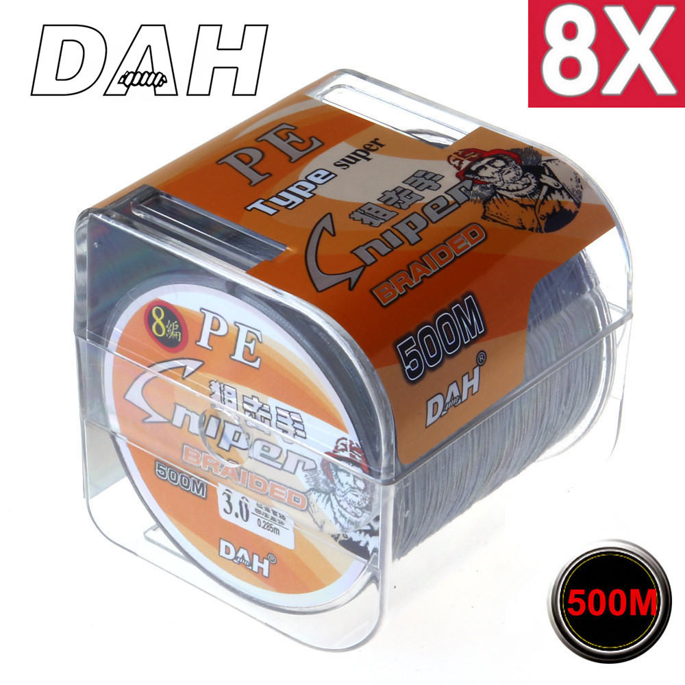 Wholesale 500M 8X DAH FISHING Brand Super Strong Japan Multifilament PE braided fishing line 8 Strands 20LB 30LB 40LB 50LB 80LB