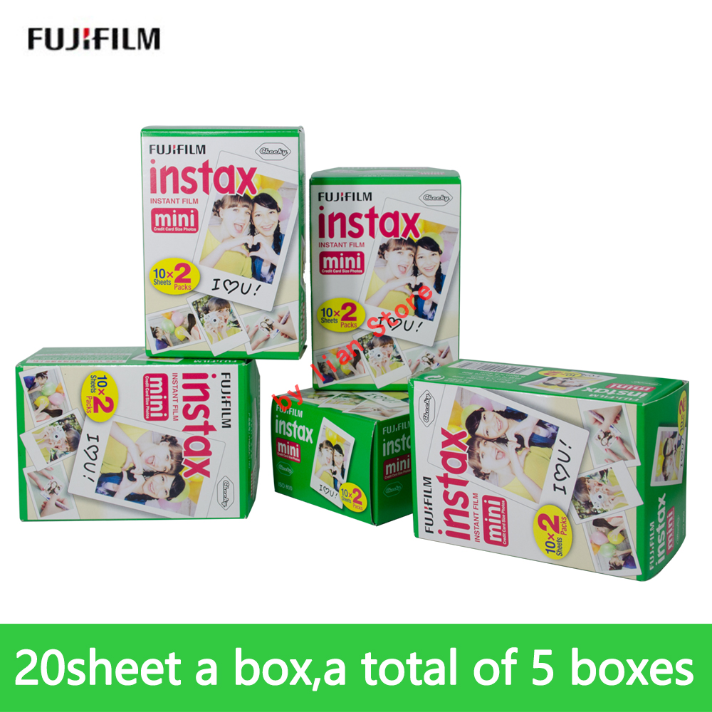 Genuine Fujifilm Instax Mini 100 sheet Film Instant White Edge For Fuji 7s 9 Instax camera 5 packs fuji fujifilm instax mini instant film monochrome photo paper for mini 8 7s 7 50s 50i 90 25 dw share sp 1 cameras
