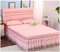 Princess pink color 3pcs cotton material wedding use Lace bedspread set bed cover 1.5m/1.8m/2.0 lace bedskirt and pillowcase