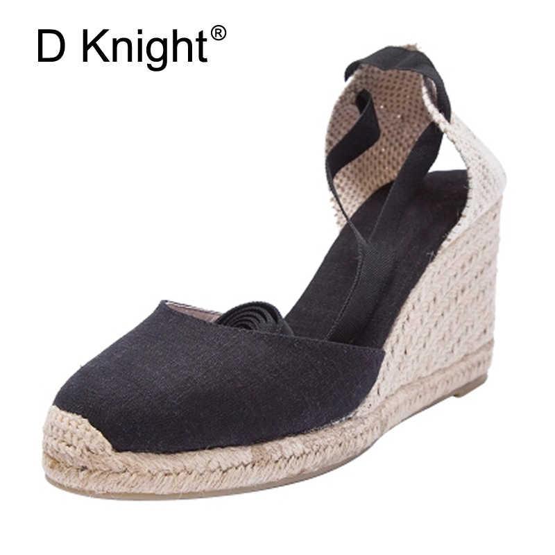 94cbb9c1d58 Women Wedges Espadrilles Sandals 2018 Ankle Strap Summer Canvas Platform  Wedge High Heels Sandals Lace Up