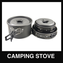 11pieces black Aluminum Alloy outdoor camping pot set cookware