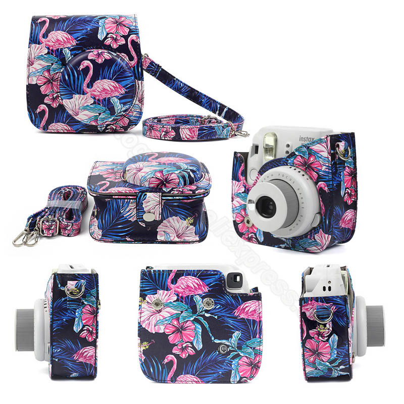 For Fujifilm Instax Mini 8//9 Camera Bags Faux Leather Shoulder Strap Case Pouch