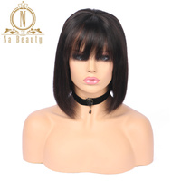 Lace Front Short Bob Wigs 13*4 Peruvian Human Hair Wigs With Bangs Remy Hair For Women Straight Natural Black Color Hair 150%