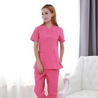 2018 New Women Medical Uniforms Short Sleeve Rose Doctor Clothing Hospital Nursing Scrubs Set Professional Brush Hand Uniform