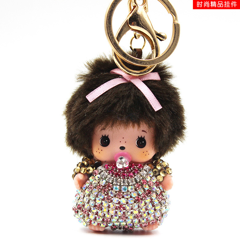 10 color monchichi Keychain dolls keychains fake fur Keychain pompom pumponchik Keychain ...