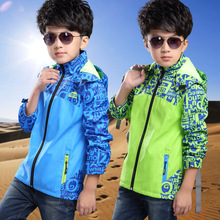 2017 new boys sport coat children waterproof breathable hooded jacket boy wild Multiple occasions practical jacket