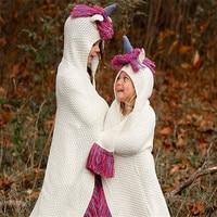 Winter Warm Knitted Baby Blankets Newborn Swaddle Wrap Kids Boy Girl Wool cap Cartoon unicorn Children shawl cloak Baby Blankets