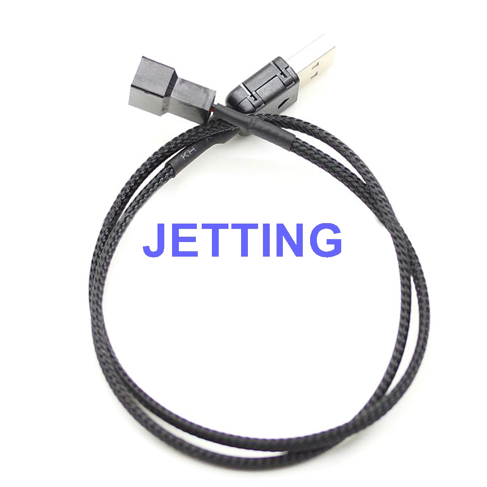 JETTING USB A male to Fan 3-Pin 3pin /4-Pin 4pin Adapter Cable for 5V 50cm Drop Shipping 50pcs 1m 5v 2pin 2 wire usb cable with type a male usb 4 pin plug socket connector for diy single led strip fan desk lamp
