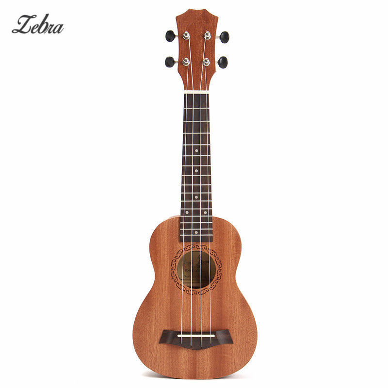 Zebra 21'' 4 Strings Rosewood Soprano Ukulele Guitar Brown Sapele Rosewood 15 Frets Guitar For Musical Instrument Lover Beginner 21 inch 12 frets soprano ukulele guitar uke sapele basswood4 strings hawaiian guitar tuner free bag for beginners basic player