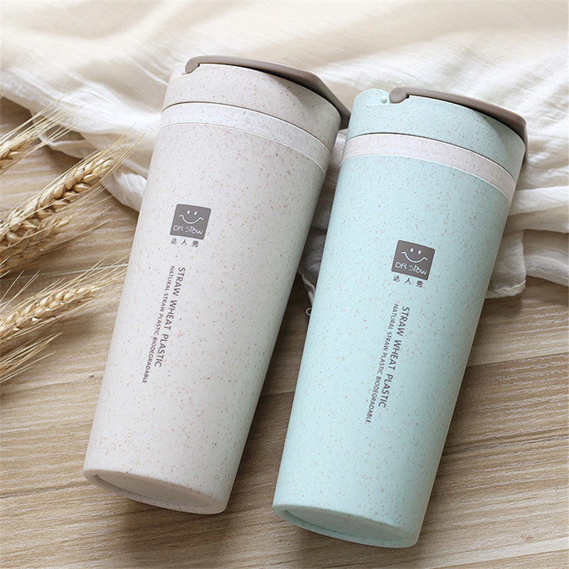 Leak Proof Double-layer Heat Insulation Thermal Bottle with Rope for Water Coffee Milk Outdoor Wheat Straw Fiber Plastic Bottle