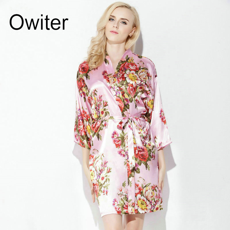 d4e2d1e1b0 Owiter Floral Satin Silk Robes Women Wedding Bridal Kimono Robe Bridesmaid  Lady Spa Robe Night Dress-in Robes from Underwear   Sleepwears on  Aliexpress.com ...