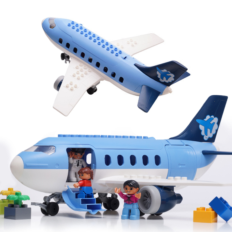 Air passenger plane Duplo Toy Large particle Building Blocks Kids toys for children bricks Compatible Legoes boys girls gifts air passenger plane duplo toy large