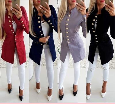 Women Autumn Long Sleeve Blazer Coats Single Button Blazer Outfit Coat