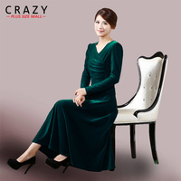 Women Plus size S 5XL Spring Velvet Dress Noble and Elegant V neck Long Dress Red Blue Green Black Purple Colors