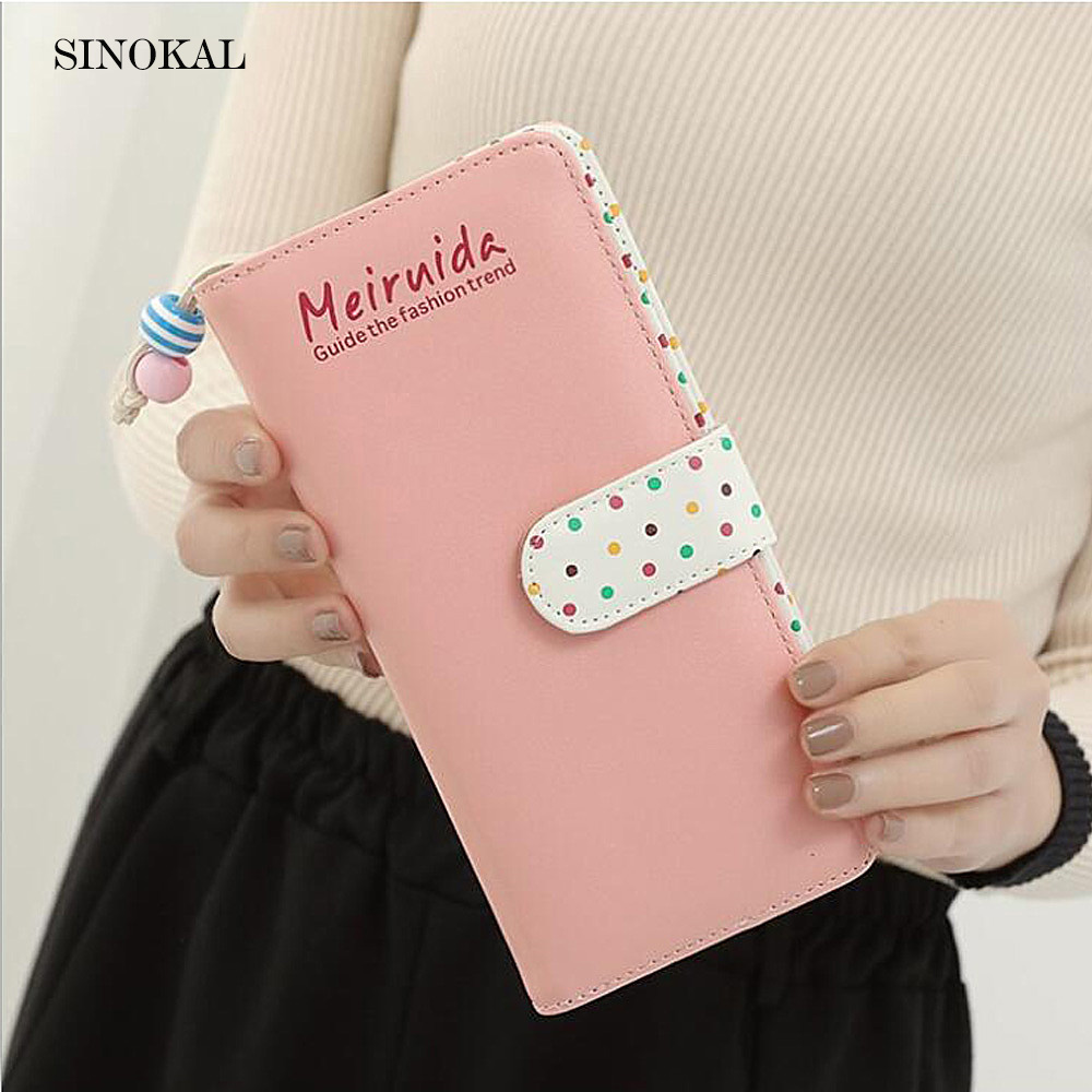 Fashion  Women Wallets Long wallet PU leather Candy Colors  Zipper polka dot Small Wallet Coin Purse Cards Holder Money Bag