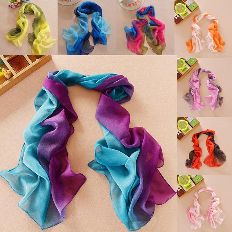 LNRRABC 19 Χρώματα Γυναικεία Κομψή κυρία Chiffon Μεταξωτή κασκόλ Καλοκαιρινή κλίση Χρώμα Georgette Σάλι Κασκόλ foulard femme