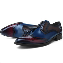Fashion Brogues Prom Shoes Mens Dress Shoes Genuine Leather Oxfords Business Shoes Male Formal Wedding Groom Shoes