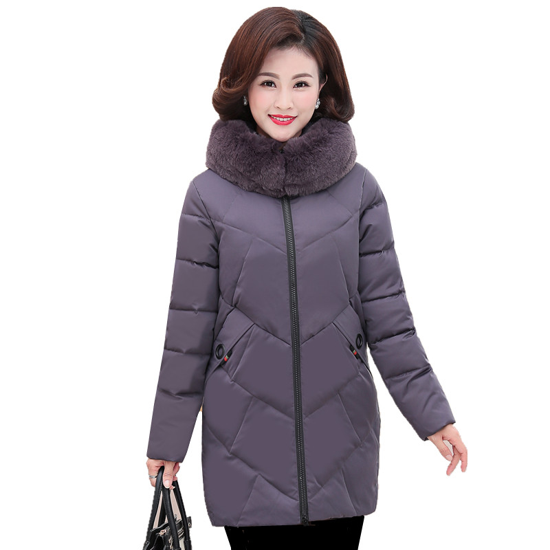 Winter women outerwear 2018 new middle-aged old mid-long female cotton jacket large size hooded fur collar ladies   parkas   cw503