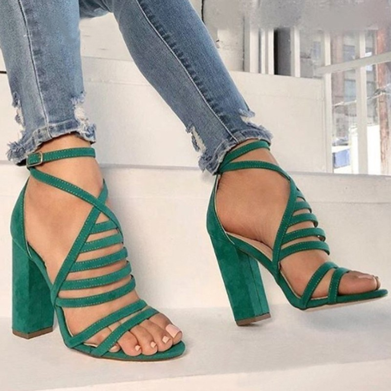 LZXGSJ 2018 Summer T-strap Med Square Heels Open-toed Fashion Casual Buckle Strap Shallow Roem Two Color Women Sandals Shoes msfair round toe wedges women sandals fashion crystal high heels casual women sandal shoes 2018 summer open toed buckle sandals