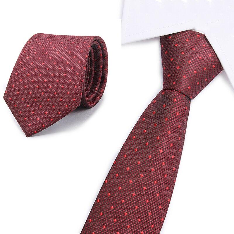 Red Dot  Silk Men Neckties Plaid 8cm Width Neck Ties For Men Wedding Tie Work Office Necktie Mariage Gravata Cravat