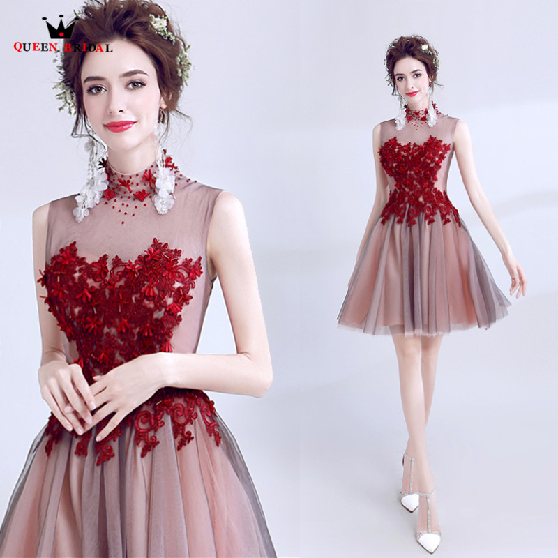 A-line High Neck Flowers Beaded Short Sexy   Evening     Dresses   Women Party   Dress     Evening   Gown 2018 New Fashion MT17