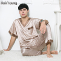 BabYoung 2017 Spring Summer New Mens Pyjama Sexy Silk Two Pieces V-neck Short sleeve Sleepshirt Long Pant Male Pajamas Hombre