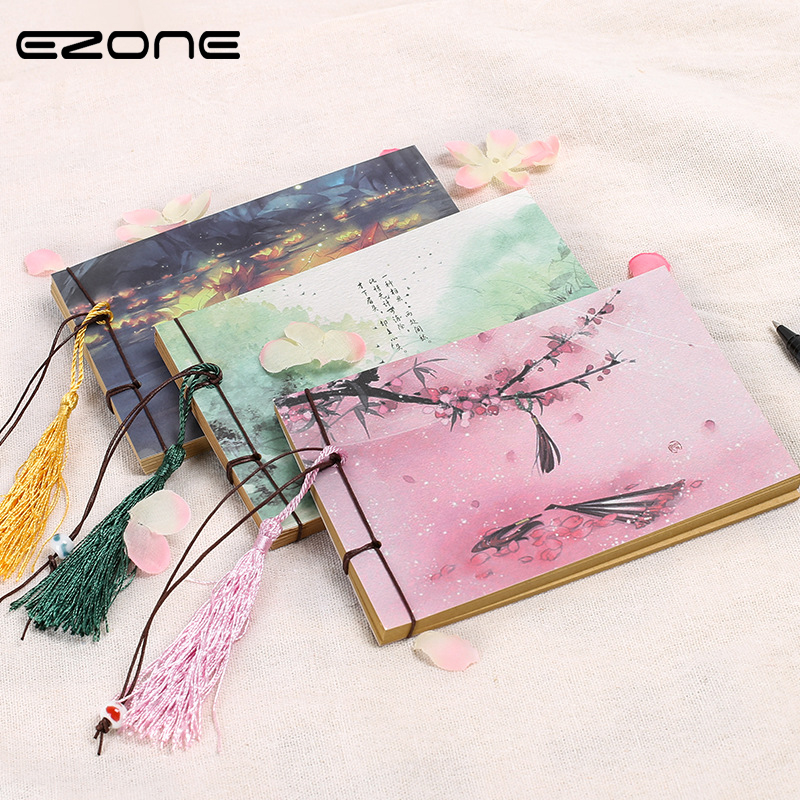EZONE1PC Chinese Style Vintage Diary Retro NoteBook Sketchbook Stationery Office School Supplies Day Planner Gift for Kids