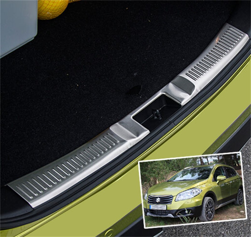 FOR 2014 2015 SUZUKI SX4 S-CROSS SCROSS INNER REAR BUMPER PROTECTOR TRUNK SILL SCUFF PLATE COVER TRIM CAR STYLING ACCESSORIES high quality stainless steel accessories rear bumper protector sill plate cover trunk trim for mazda cx 5 cx5 2017 car styling