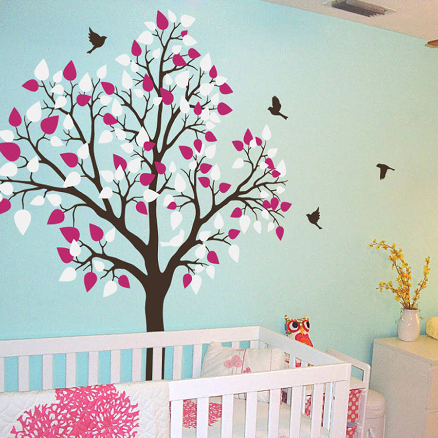 Single Tree With Birds Flying Vinyl Wall Sticker Baby Nursery Decals Art Murals Removable Diy Bedroom Decor Za196 In Stickers From Home