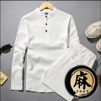 M 5XL 2019 Spring and summer Chinese style Men's long sleeve shirt fluid linen collarless tea householders clothes set TOP+PANTS