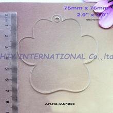 (4pcs/lot) 76mm Clear Blank Acrylic Paw Key Chains Laser Cut Acrylic Paw Ornaments 3