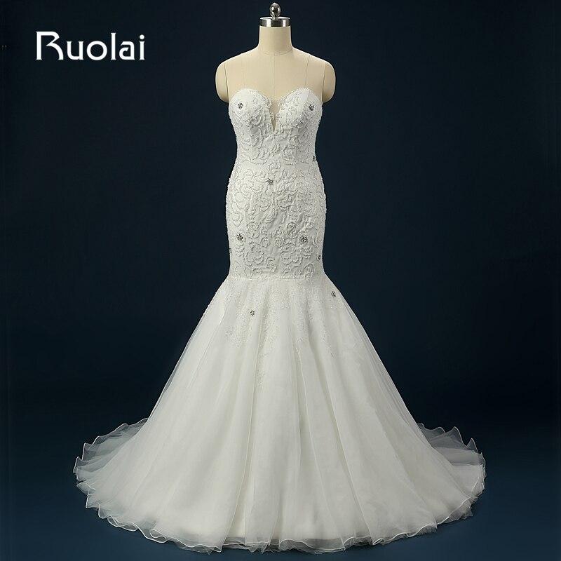 Sexy 2016 Mermaid Wedding Dress Sweep Train Sweetheart Tulle Beads Bridal Gown for Wedding Party Vestido de Novia Largo ASAFN48