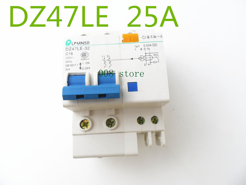 DZ47LE 2P 25A 230V~ 50HZ/60HZ Residual current Circuit breaker with over current and Leakage protection chint dz47le 32 3p c25a 30ma earth leakage circuit breaker residual current operated circuit breaker