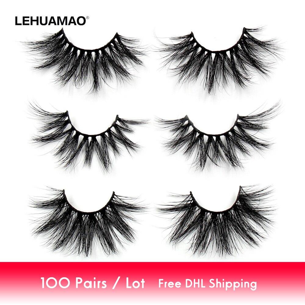 100 Paris lot 25mm Eyelashes 3D Mink False Eyelashes Crisscross Mink Lashes Soft Dramatic Eyelash Fluffy