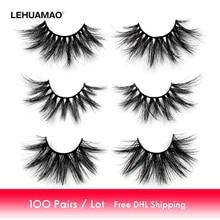 100 Paris/lot 25mm Eyelashes 3D Mink False Eyelashes Crisscross Mink Lashes Soft Dramatic Eyelash Fluffy Full Makeup Eye lash