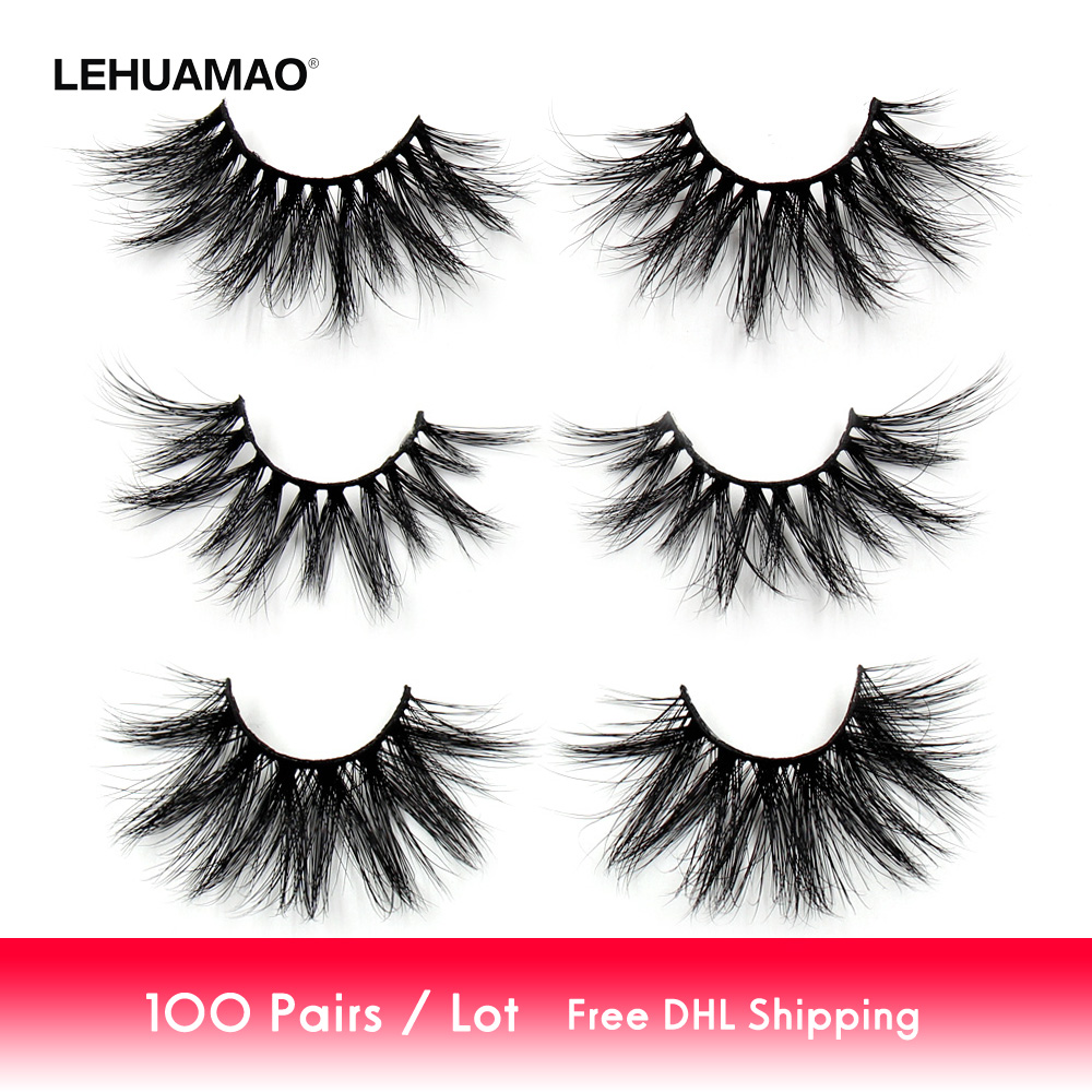 cb0d77ecc68 100 Paris/lot 25mm Eyelashes 3D Mink False Eyelashes Crisscross Mink Lashes  Soft Dramatic Eyelash